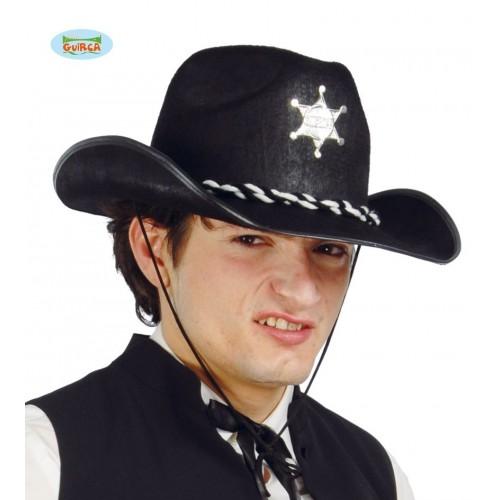 SOMBRERO ADULTO FIELTRO SHERIFF NEGRO