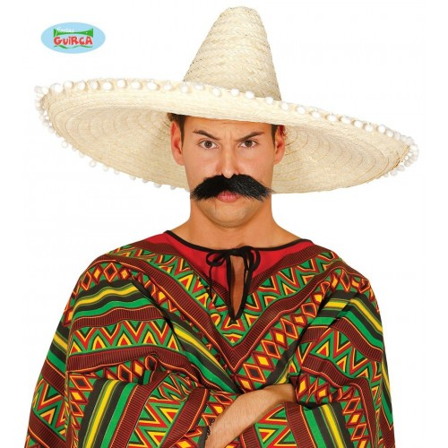 SOMBRERO ADULTO MEXICANO NATURAL 60CM