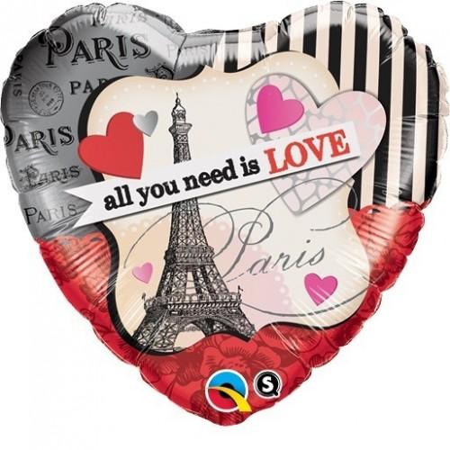 "GLOBO 18"" FOIL CORAZON PARIS LOVE"
