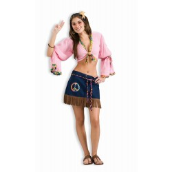 DISFRAZ T-UNICA HIPPIE TOP MINI FALDA