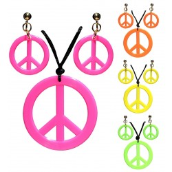 SET HIPPIE PENDIENTES COLLAR SIMBOLO PAZ