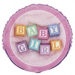 GLOBO HELIO REDONDO BABY GIRL ROSA