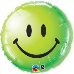 """GLOBO 18"""" FOIL REDONDO SMILEY VERDE"""
