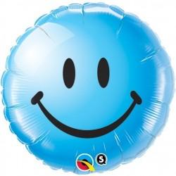 "GLOBO 18"" FOIL REDONDO SMILEY AZUL"