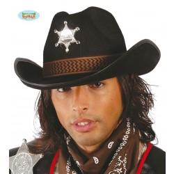SOMBRERO ADULTO FIELTRO SHERIF NEGRO