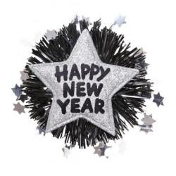 BROCHE ESTRELLA HAPPY NEW YEAR PLATA