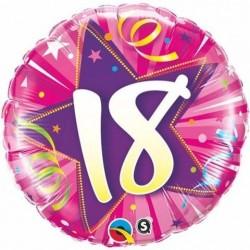"""GLOBO 18"""" FOIL RND ROSA N18 ESTRELLA"""