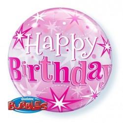 "GLOBO 22"" BURBUJA ROSA HAPPY BIRTHDAY"
