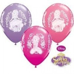 "$6 GLOBOS 12"" LATEX PRINCES SOFIA COL.SU"