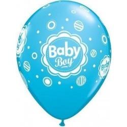 "PAQ.6/U GLOBO 11"" AZUL MEDIO BABY BOY"