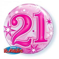 "GLOBO 22"" BURBUJA N21 ESTRELLAS ROSA"