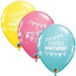 "25 GLOBOS 11"" LATEX HAPPY BIRTH COL.PAST"
