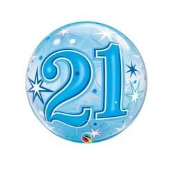 "$D GLOBO 22"" BURBUJA N21 ESTRELLAS AZUL"