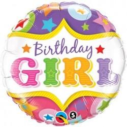 "GLOBO 18"" FOIL RND BIRTHDAY GIRL"
