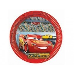 =  8 PLATOS CARTON CARS 3 23CM