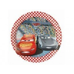 =  8 PLATOS CARTON CARS 3 20CM