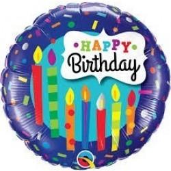 "GLOBO 18"" FOIL REDONDO HAPPY BIRTHDAY"