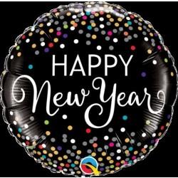 "$D GLOBO 18"" FOIL REDONDO HAPPY NEW YEAR"