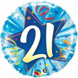 "GLOBO 18"" FOIL RND N21 ESTRELLA AZUL"