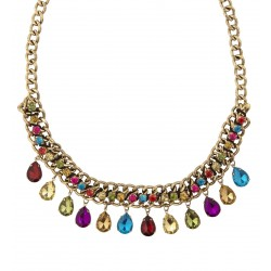 COLLAR ORO GEMAS MULTICOLOR