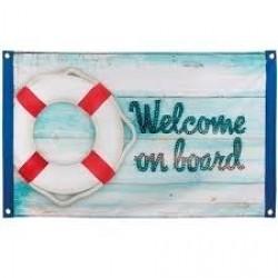 BANDERA TELA WELCOME ON BOARD 90X60CM