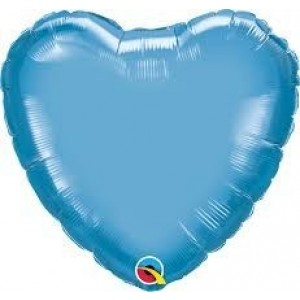 "GLOBO 18"" FOIL CORAZON CHROME AZUL"